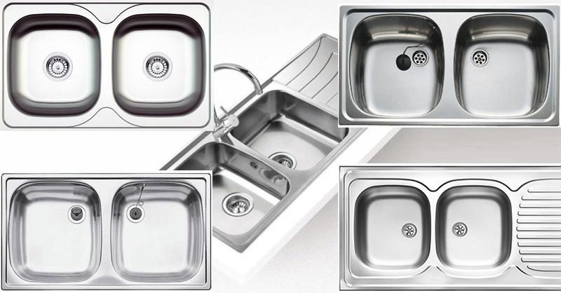 Kétmedencés, rozsdamentes fém háztartási mosogatótálcák