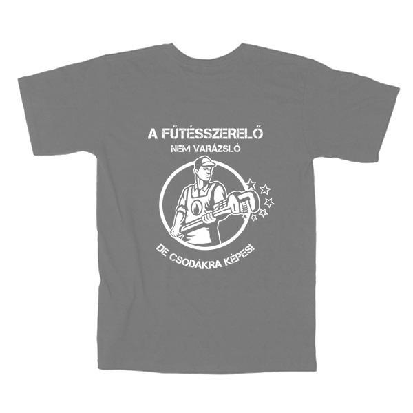 Szürke fűtésszerelő póló