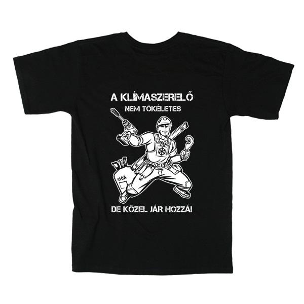 Fekete klímaszerelő póló